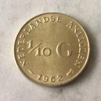 Антилы, 1\10 гульдена, 1962, серебро
