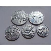 Катанга.(ДР Конго). Набор монет 1, 5, 10, 50, 100 франков. 2017 год. Животные. UNC