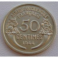 Французская Западная Африка. 50 сантимов 1944 год  КМ#1 Редкая!!!