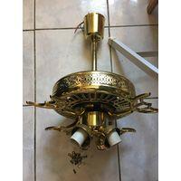 Люстра вентилятор Двигатель рабочий Лопастей нет Продаётся в том виде, как на фото