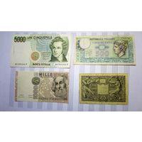 Италия. 4 банкноты 10, 500, 1000, 5000 лир одним лотом