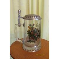 Бокал  Кружка пивная стекло рельефная Тетерев Германия 16 см  0.5 л  ж