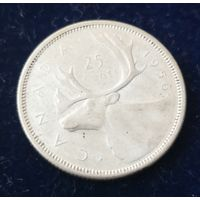 "Канада. 25 центов 1965.год. ""Фауна. Олень"" Серебро."
