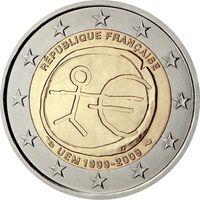 2 евро 2009 Франция 10 лет Экономическому и Валютному союзу UNC из ролла