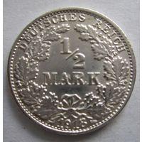 Германия. 1\2 марки 1918 F. Серебро . 111