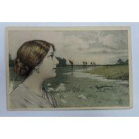 "Открытка до 1917г. ""Девушка"" M.M. Vienne."