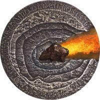 """Ниуэ 1 доллар 2015г. """"Метеорит Кампо-дель-Сьело"""". Монета в капсуле; подарочном футляре; номерной сертификат; коробка. СЕРЕБРО 31,10гр.(1 oz)."""