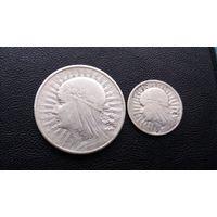 10 злотых 1932 и 2 злота 1933.