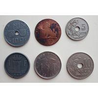 Бельгия довоенная. 6 монет.