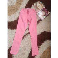 Брюки джинс розовые крутые на рост 152