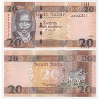 Южный Судан 20 фунтов образца 2016 года UNC p13