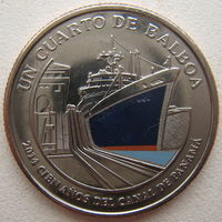 Панама 1/4 бальбоа 2016 г. 100 лет строительству Панамского канала. Корабль (синий)