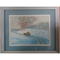 """Шамшур В.В. """"Зимнее спокойствие"""", картон, пастель. 34х28 (по раме)."""