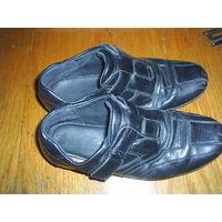 Туфли детские для мальчика. Черные. Размер 36. Натуральная кожа.