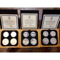 """Канада, 3 набора монет """"Олимпийские игры в Монреале 1976"""" ,серебро, по 4 монеты номиналом 5 и 10 долларов, цена за единицу."""