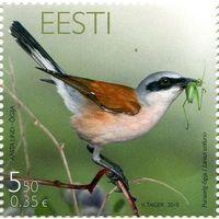 Эстония 2010 г. Фауна. Птица года.  Шрайк.