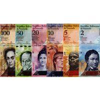 Венесуэла НАБОР БОЛИВАРОВ  образца 2007 года (2, 5, 10, 20, 50, 100 боливаров).Цена за 6 шт. UNC