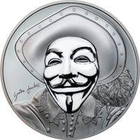 "Острова Кука 5 долларов 2017г. ""Маска Гая Фокса II"". Монета в капсуле; шикарном подарочном футляре; сертификат; коробка. СЕРЕБРО 31,135гр.(1 oz)."