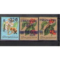 Гайана Футбол цветы Чемпионат мира по футболу в Испании 1982 - 1983 год надпечатки чистый полный комплект из 3-х марок