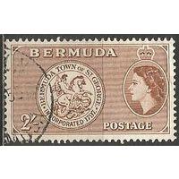 Бермуды. Королева Елизавета II. Герб Св.Георгий. 1953г. Mi#143.