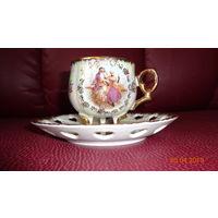 Роскошная чайная пара из ажурного фарфора. Германия