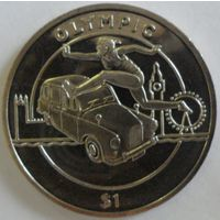 Сьерра-Леоне 1 доллар 2012 года. Прыжки в длину. Шайба. Состояние UNC!