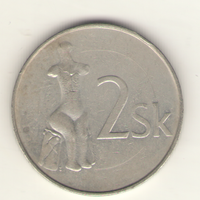 2 кроны 1993 г. Словацкая республика.