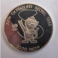 Южная Корея, 5000 вон, 1986,серебро, пруф